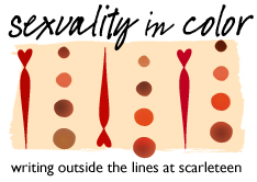a graphic featuring colorful dots and lines labeled SEXUALITY IN COLOR WRITING OUTSIDE THE LINES AT SCARLETEEN