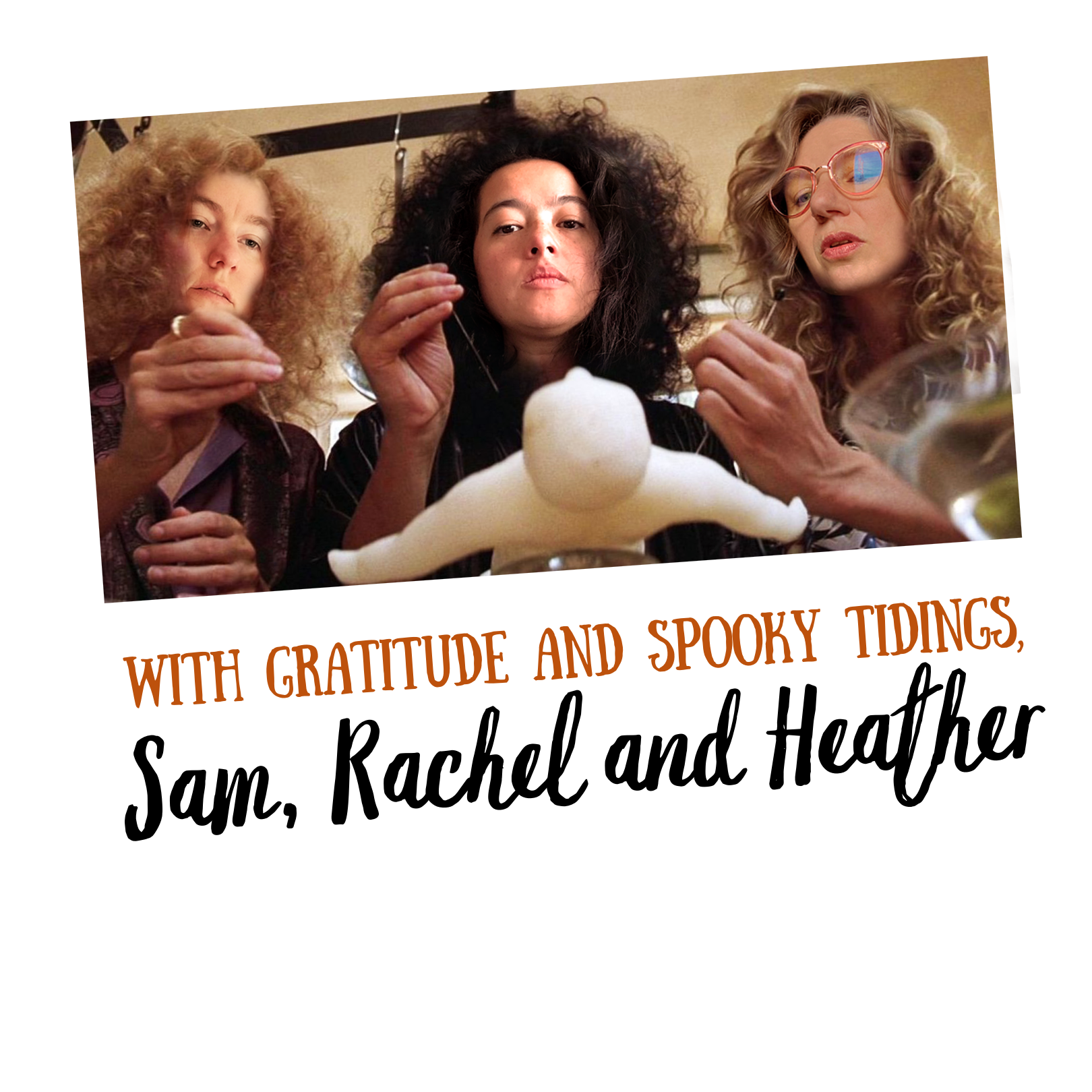 Photo of Sam, Rachel and Heather re-enacting a scene form the Witches of Eastwick.