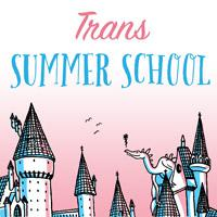 The Trans Summer School logo, with a gleeful dragon and a castle in trans pride colors.