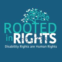 The Rooted in Rights logo, with a tree and the phrase disability rights are human rights.