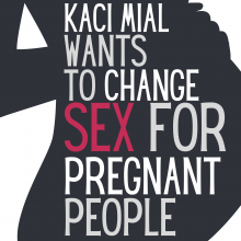 image of the title text across the silhouette of a person holding their pregnant belly