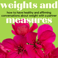 weights and measures: title text with bright floral imagery because fat is also gorgeous!