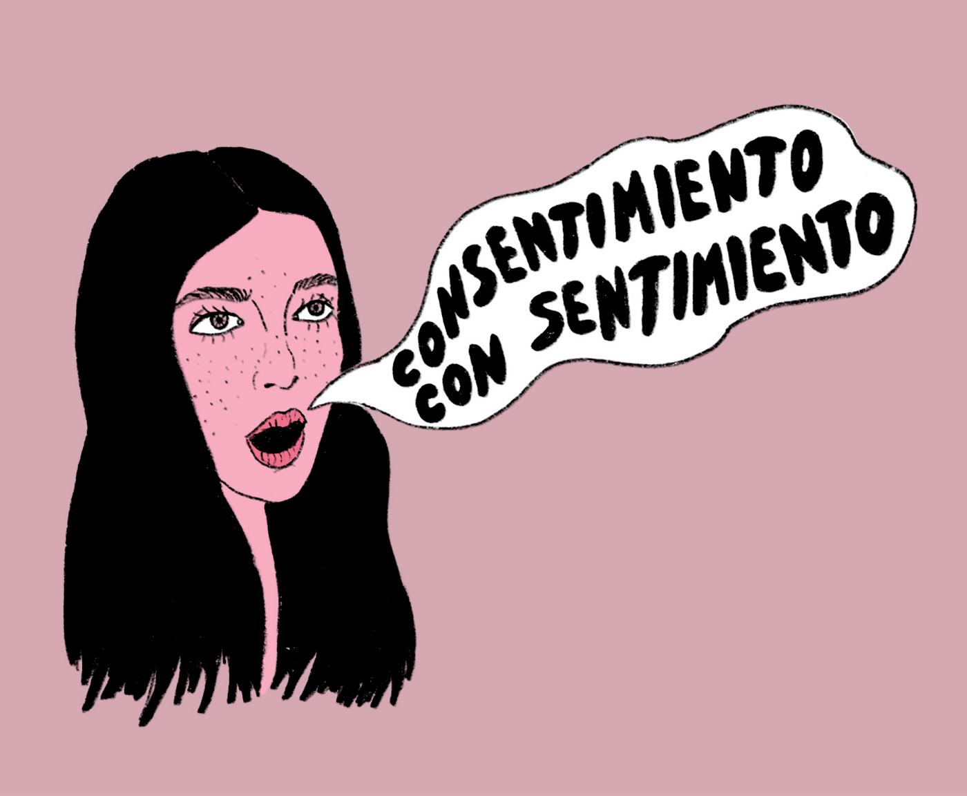 person saying: consentimeinto con sentimiento